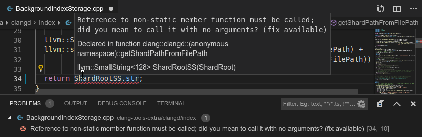screenshot: clang errors